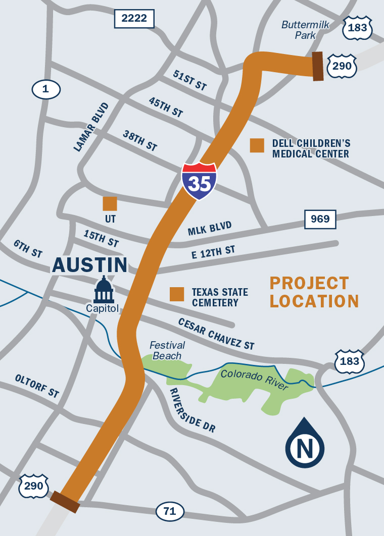 I-35-Capital Express Central Map