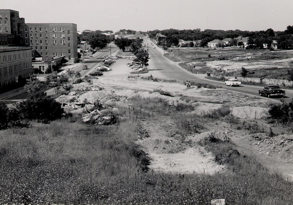 Black and white picture of a construction site before progress has been made.