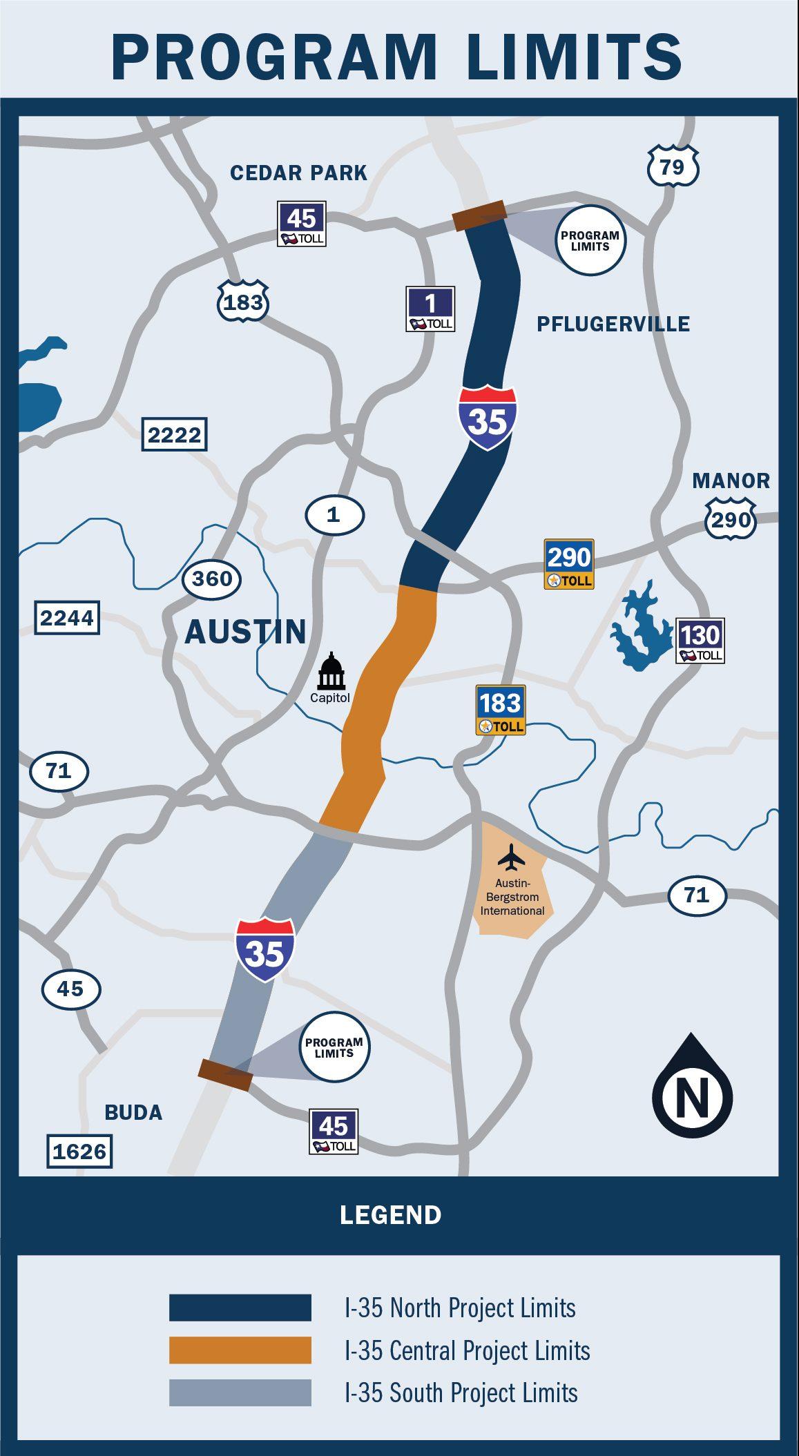 I-35 Capital Express Program Map